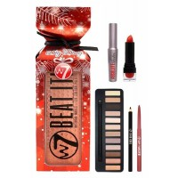 The Big Bang Set-Beat it Eyeshadows Lipstick,Eye & Lip Pencil, Mascara W7 Cosmetics