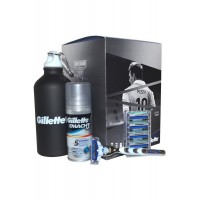 Set-Mach 3 Turbo with 4 Blades Shave Gel 75ml and Sports Flask Mach 3 Turbo Set