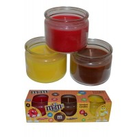 Scented Candles Pack of 3 Cinnamon, Chocolate, Lemon M&Ms